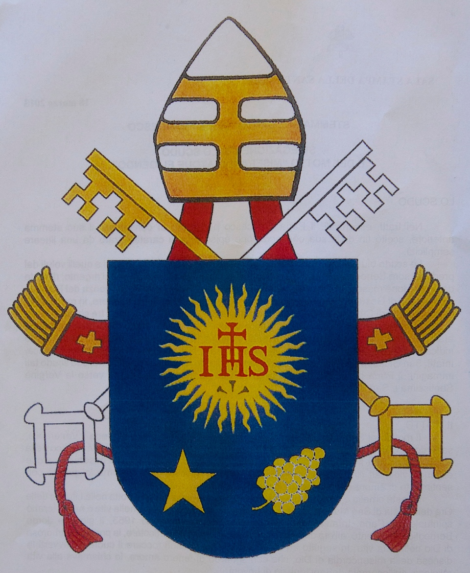 The new papal coat of arms is shown in this photo released by the Vatican Press Office, Monday, March 18, 2013. (AP / Andrew Medichini)