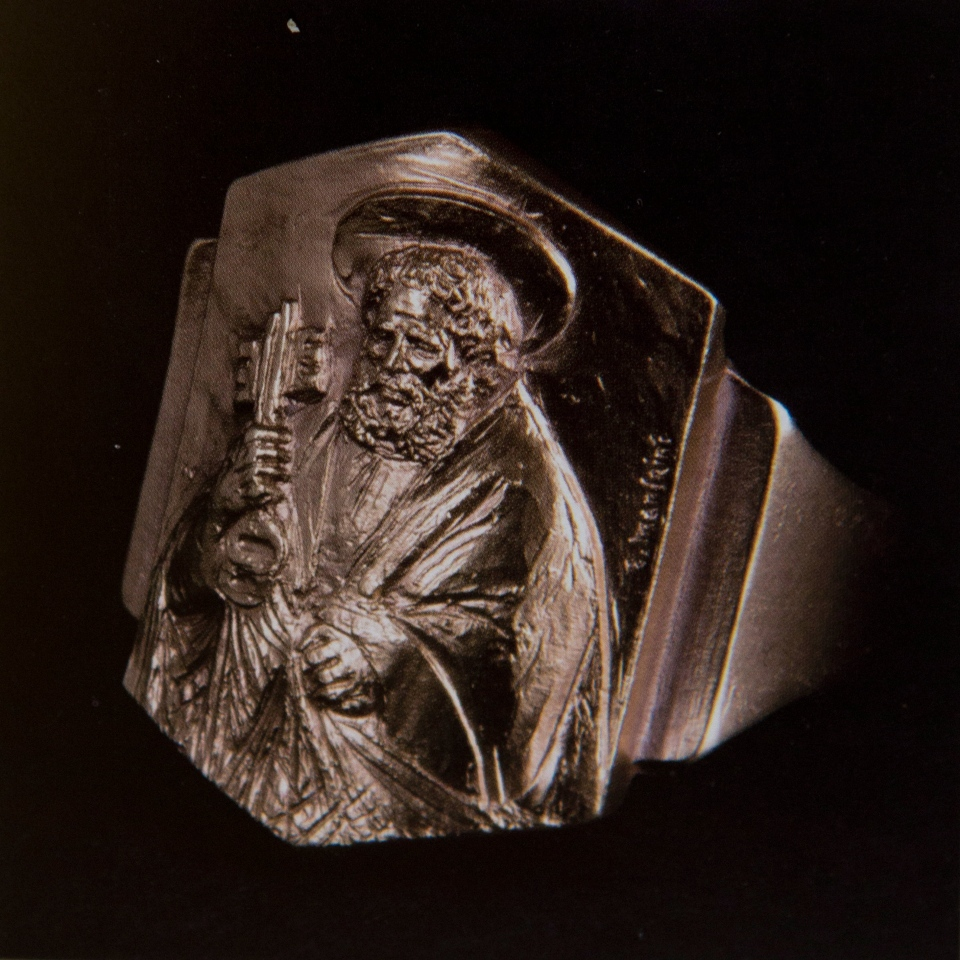 The so-called fisherman's ring, from the apostle Peter who was a fisherman and the first pope, was chosen by Pope Francis as the ring he will receive during the installation Mass, shown here on March 18, 2013. (AP / Andrew Medichini)