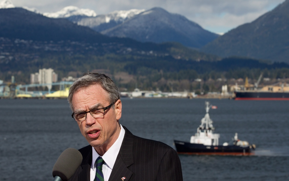 Natural Resources Minister Joe Oliver speaks during an announcement about changes to improve oil tanker safety in Vancouver, B.C., on Monday, March 18, 2013. (Darryl Dyck / THE CANADIAN PRESS)