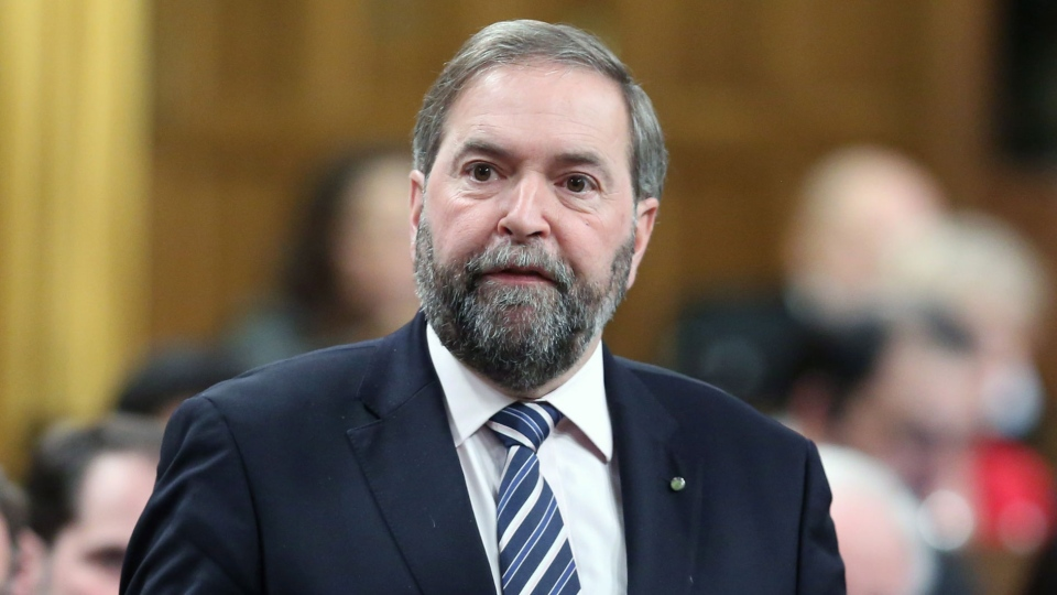 NDP Leader Tom Mulcair stands in the House of Commons during Question Period on Parliament Hill in Ottawa Monday, March 18 2013. (Fred Chartrand / THE CANADIAN PRESS)