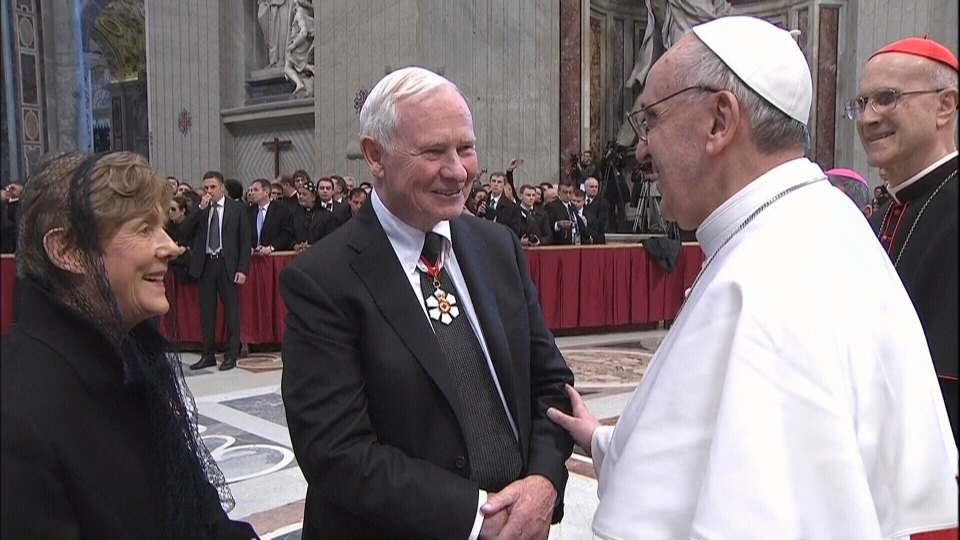 Gov. Gen. David Johnston meets with Pope Francis during the installation mass at St. Peter's Basilica in Vatican City, Tuesday, March 19, 2013.