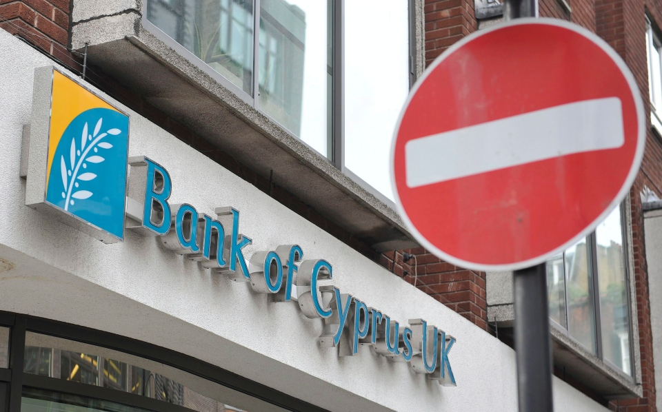 A view of the Bank of Cyprus UK in Charlotte Street, central London, Monday, March 18, 2013. (AP Photo / Nick Ansell, PA)