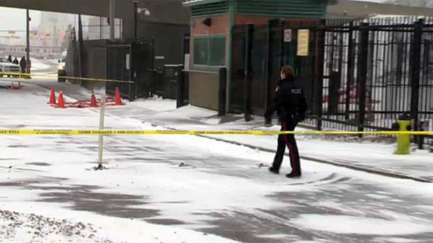 Police at the scene where  John Gordon Walmsley, of Calgary was found stabbed.