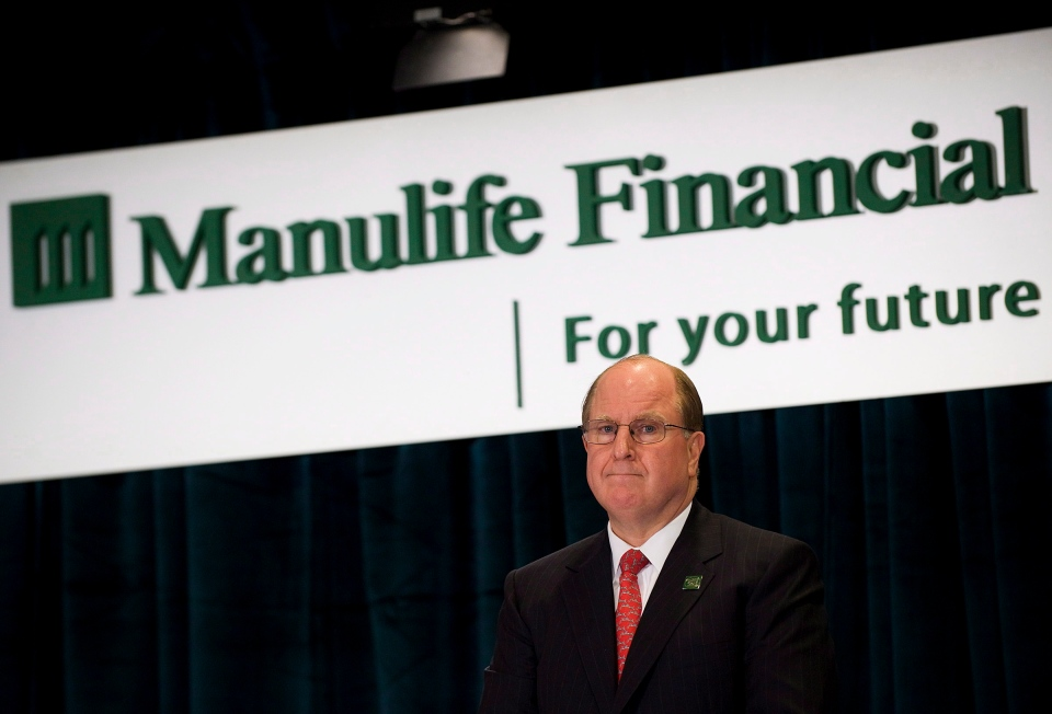 Manulife Financial President and CEO Donald Guloien is introduced at the company's Annual General Meeting at its head office in Toronto on Thursday May 3, 2012. (Aaron Vincent Elkaim / THE CANADIAN PRESS)