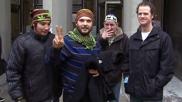 Members of the Church of the Universe outside a court in Toronto, Monday. Feb. 7, 2011.