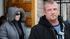 Rodney Stafford and Tara McDonald, left, parents of murder victim Tori Stafford, leave the courthouse where a pre-trial hearing for Michael Rafferty took place in Woodstock, Ont., Monday, Feb. 7, 2011.   (Dave Chidley / THE CANADIAN PRESS)