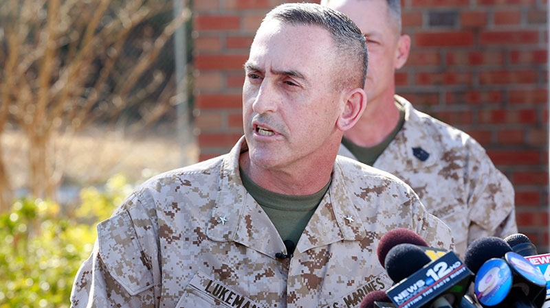 Brig. Gen. Jim W. Lukeman, Commanding General, 2nd Marine Division, speaks to press at Camp Lejeune in Jacksonville, N.C. on Tuesday, March 19, 2013.  (AP / The Jacksonville Daily News, John Althouse)
