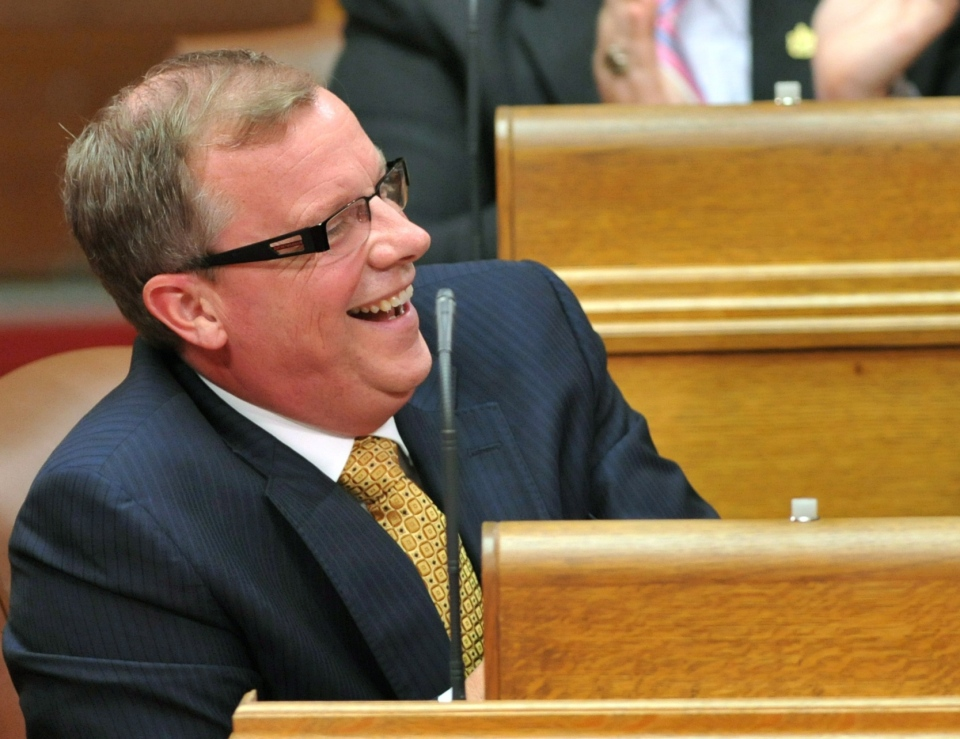 Saskatchewan Premier Brad Wall reacts to comments as Finance Minister Ken Krawetz reads the 2012 Provincial Budget in Regina on Wednesday March 21, 2012. (Roy Antal / THE CANADIAN PRESS)