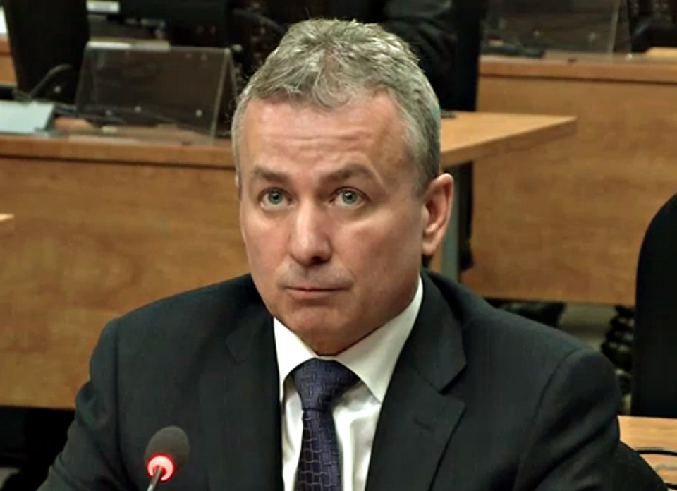 Rosaire Sauriol, vice-president at Dessau, is seen in a frame grab from the video feed, as he testifies at the Charbonneau inquiry looking into corruption in the Quebec construction industry Wednesday, March 20, 2013 in Montreal. THE CANADIAN PRESS/Charbonneau Commision