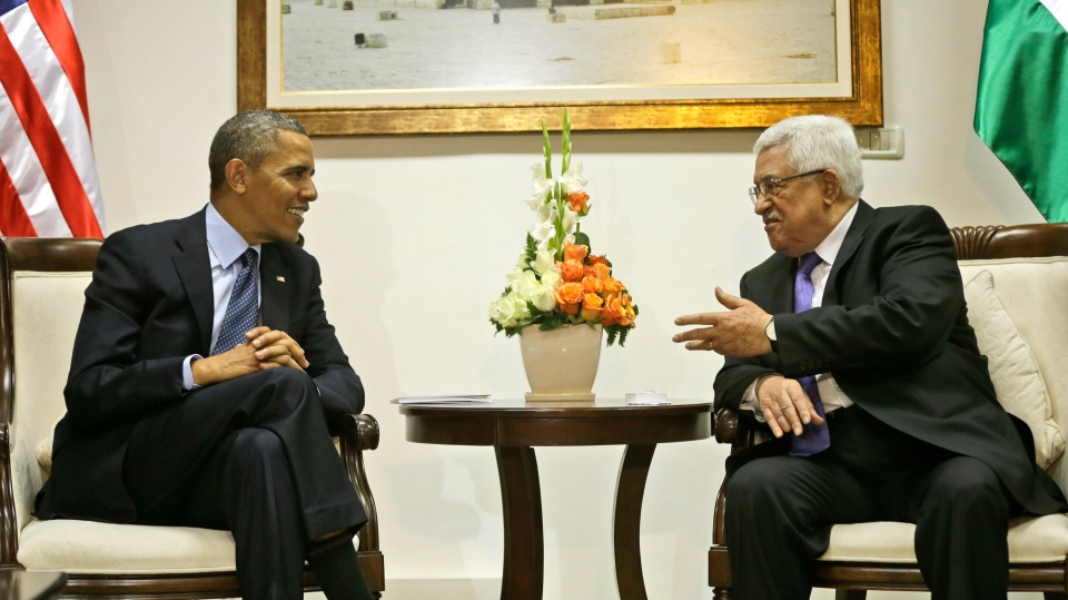 U.S. President Barack Obama, left, listens to Palestinian President Mahmoud Abbas during their bilateral meeting at the Muqata Presidential Compound in the West Bank city of Ramallah, Thursday, March 21, 2013. (AP / Pablo Martinez Monsivais)