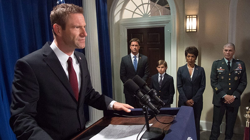 From left, Aaron Eckhart, Gerard Butler, Finley Jacobsen, Angela Bassett and Robert Forster in a scene from VVS Films' 'Olympus Has Fallen'