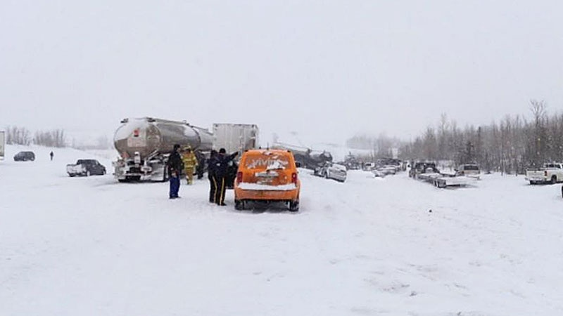 Dozens of vehicles were involved in a multi-vehicle collision on the QE2 Highway Thursday, March 21, 2013. Courtesy: Drew Forward.