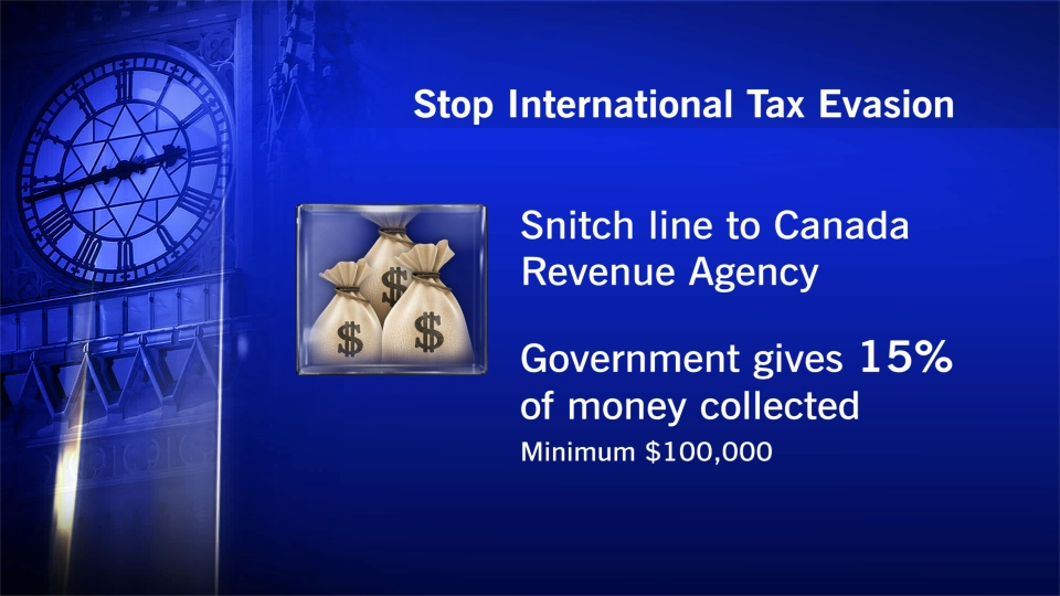 The federal government announced the 'Stop International Tax Evasion Program,' which gives Canadians who tip off the revenue agency on major international tax evasion cases a reward of 15 per cent of the recovered money.