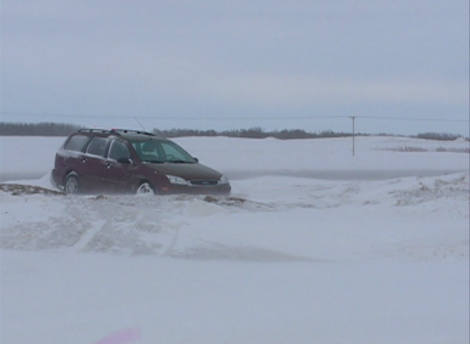 This was the scene on a highway near Saskatoon Thursday morning. Many highways were closed and there were several vehicles stuck in the snow.