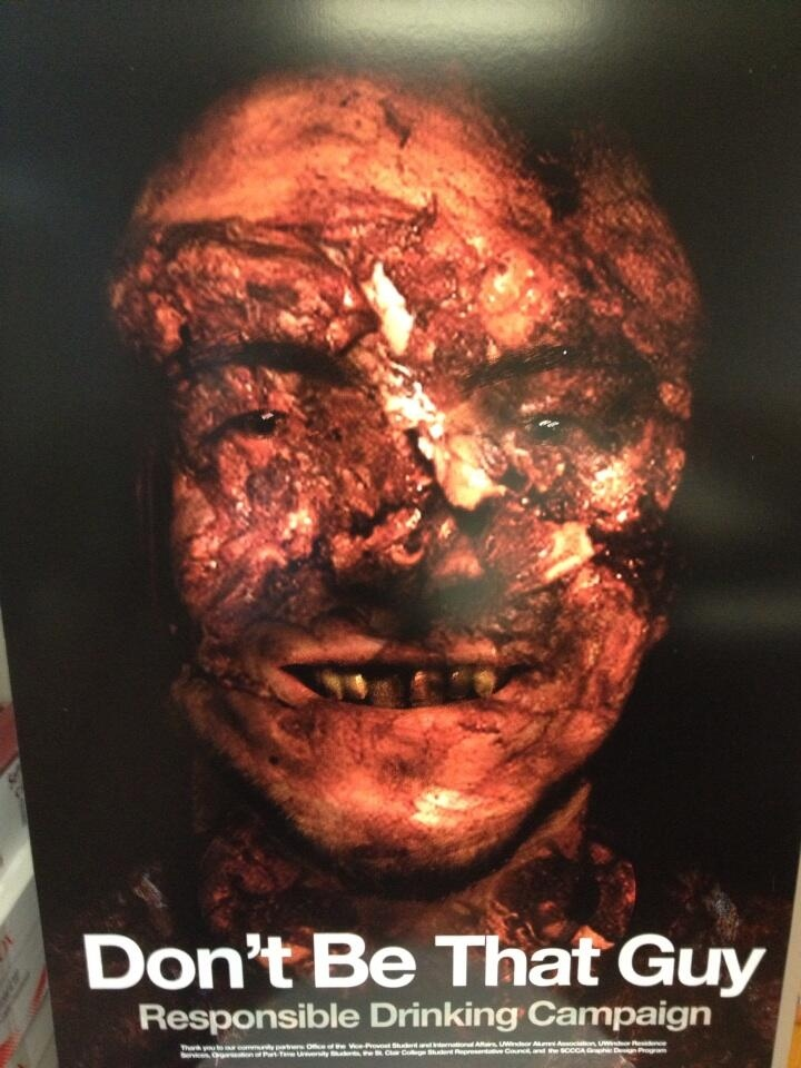 Anti-drinking poster shows the disfigured face of a man after a brutal drunk driving accident.