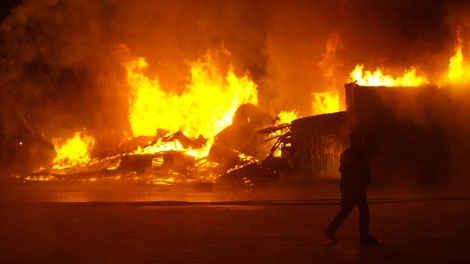 The historic Windsor Hotel in Leask went up in flames early Wednesday morning. Investigators are still working to determine the cause of the fire. Feb. 09, 2011.