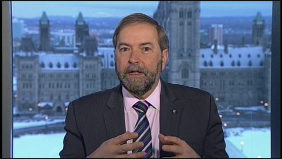 Opposition leader Thomas Mulcair speaks to CTV's Canada AM Friday, March 22, 2013.