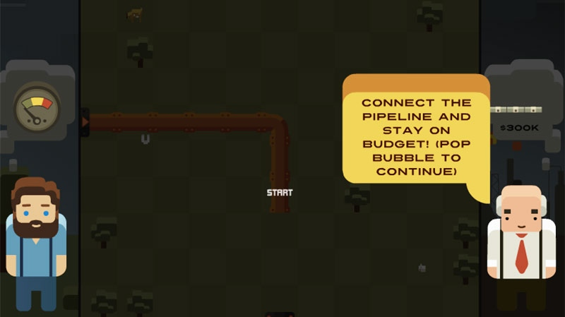 This screen grab shows a taxpayer-funded online game showing the bombing of a gas pipeline, called Pipe Trouble, which will accompany a documentary about the pipeline debate in British Columbia.
