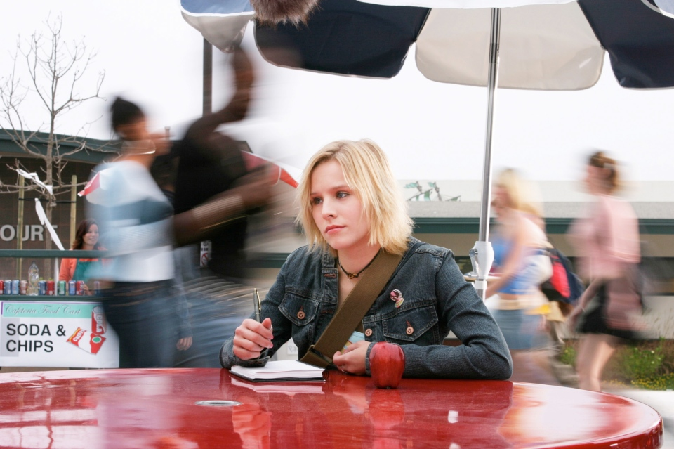 "This 2004 file photo originally released by UPN shows actress Kristen Bell in a scene from the teen detective series ""Veronica Mars."" Creator Rob Thomas launched a Kickstarter campaign to fund a movie of his cult TV show, which was canceled after three seasons in 2007. It met its stated goal of raising $2 million in less than 11 hours, meaning it would be greenlit to begin shooting this summer. (AP Photo/UPN, Scott Garfield)"