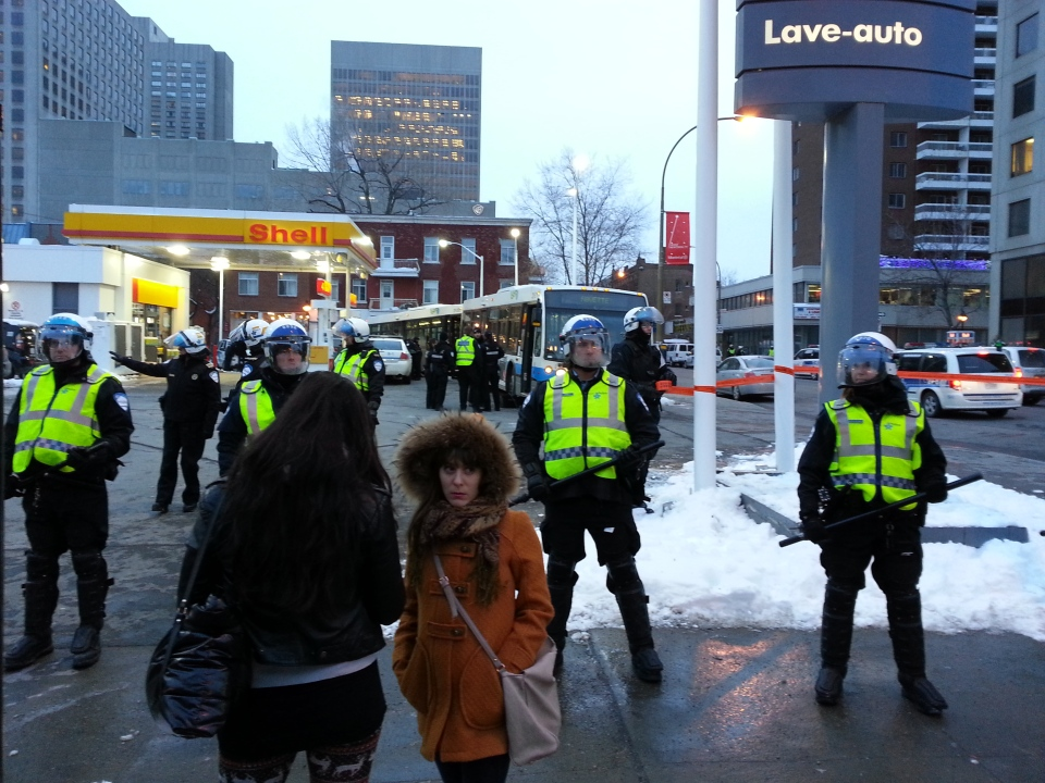 A student protest on March 22, 2013 ended quickly in mass arrests. (Marc Latendresse / CTV Montreal)