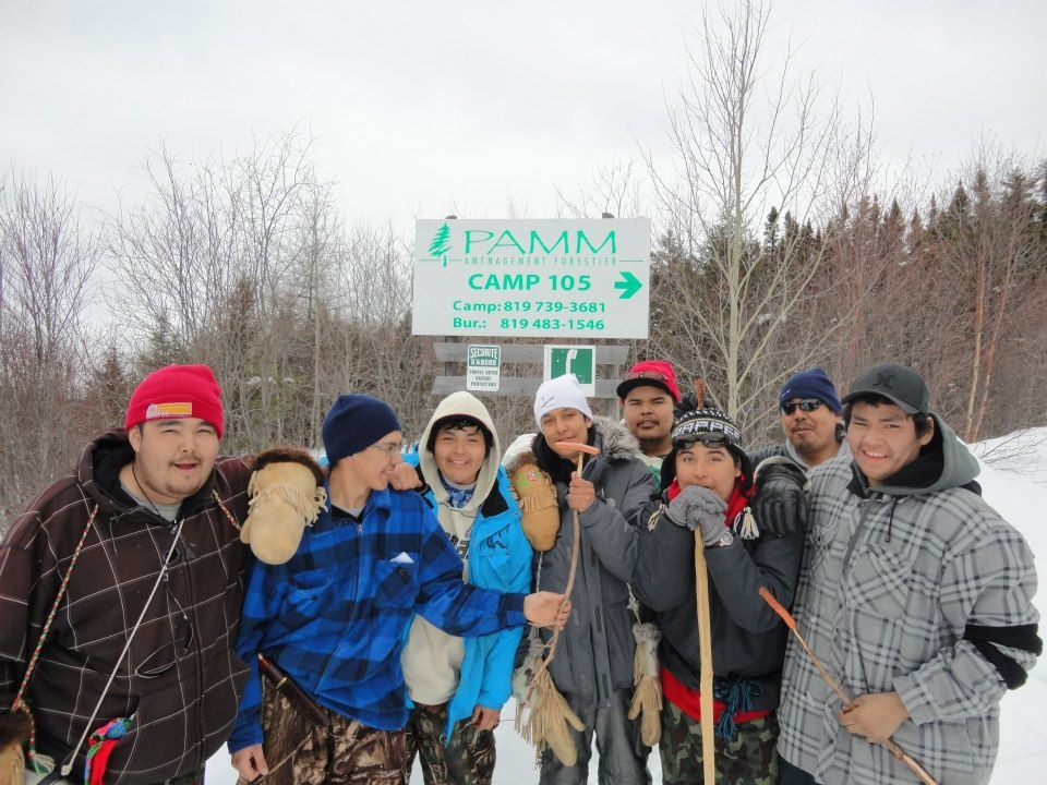 Part of the 'Journey of Nishiyuu' Cree team members near the James Bay highway. (Facebook)