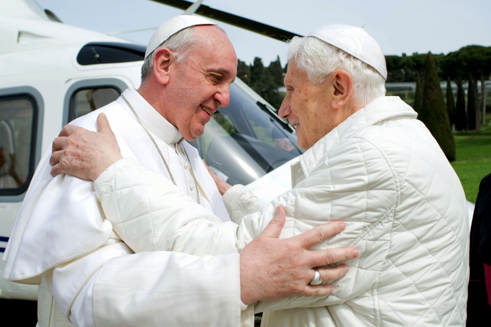 In this photo provided by the Vatican paper L'Osservatore Romano, Pope Francis meets Pope emeritus Benedict XVI in Castel Gandolfo on Saturday, March 23, 2013. (AP Photo/Osservatore Romano, HO)