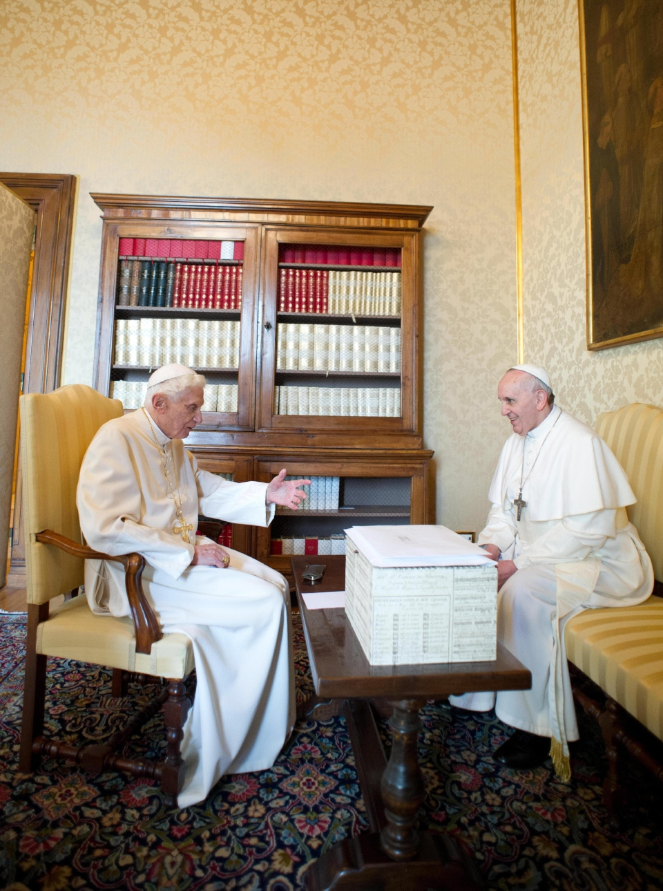 Pope Francis, right, and Pope emeritus Benedict XVI meet in Castel Gandolfo Saturday, March 23, 2013. (AP / Osservatore Romano)