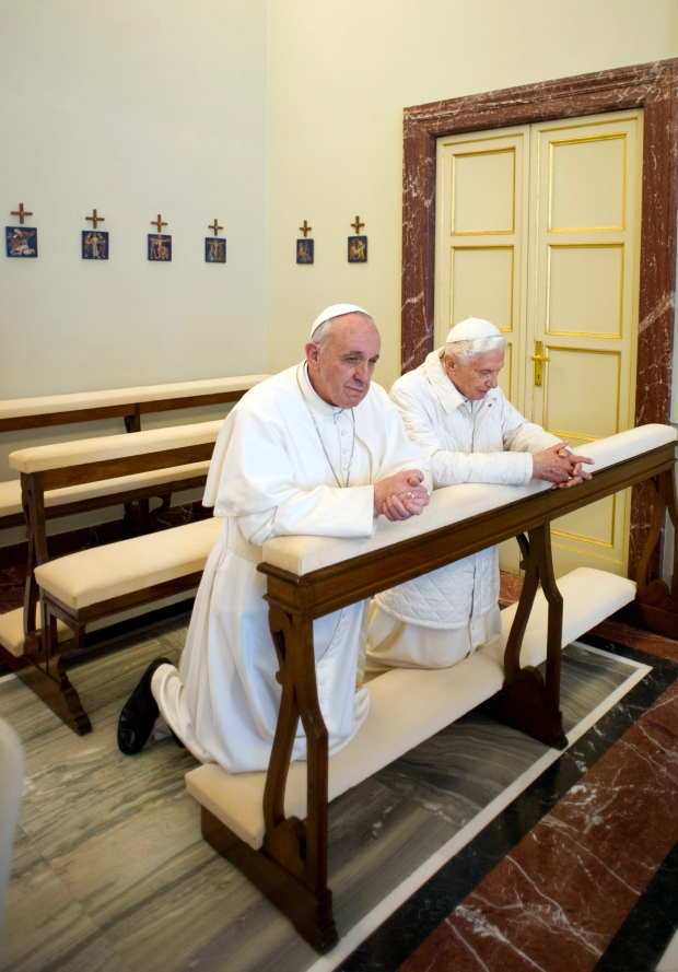 Pope Francis  Benedict XVI pray in Rome
