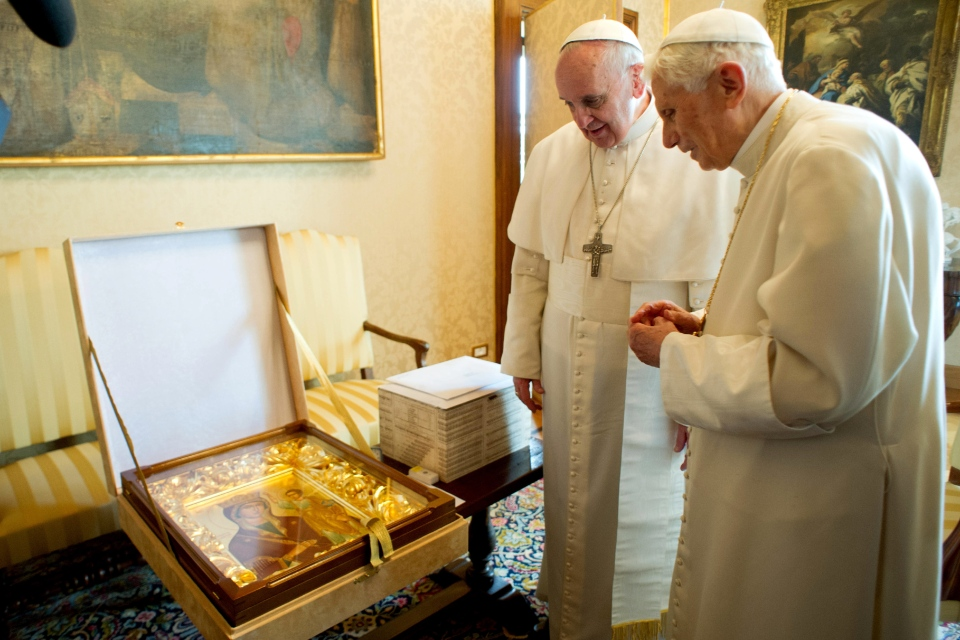 Pope Francis, left, and Pope emeritus Benedict XVI meet in Castel Gandolfo Saturday, March 23, 2013. (AP / Osservatore Romano)