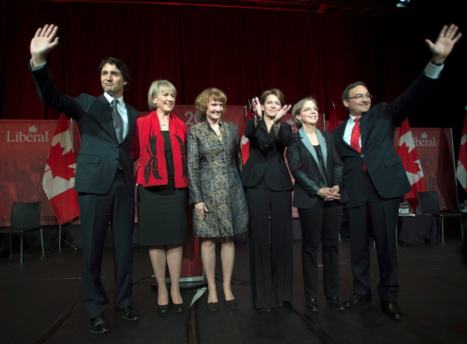 Justin Trudeau, left to right, Joyce Murray, Karen McCrimmon, Martha Hall Findlay, Deborah Coyne, and Martin Cauchon are applauded at the end of the Liberal party leadership debate in Montreal on Saturday, March 23, 2013. (Ryan Remiorz / THE CANADIAN PRESS)