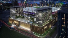 An artist's rendering of plans for a $450-million casino complex near BC Place. Feb. 9, 2011. (CTV)