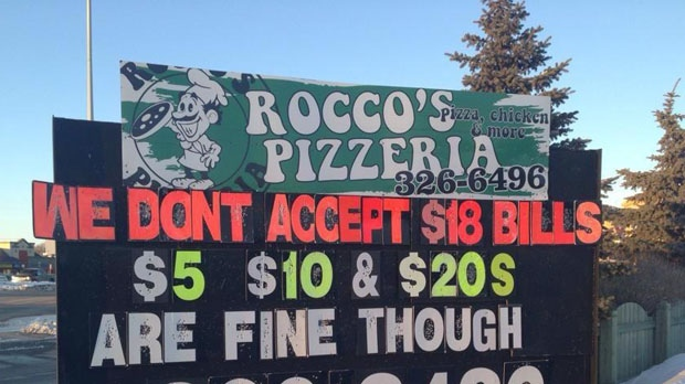 This sign in front of Rocco's pizzeria in Steinbach angered supporters of the province's anti-bulling bill, Bill 18.