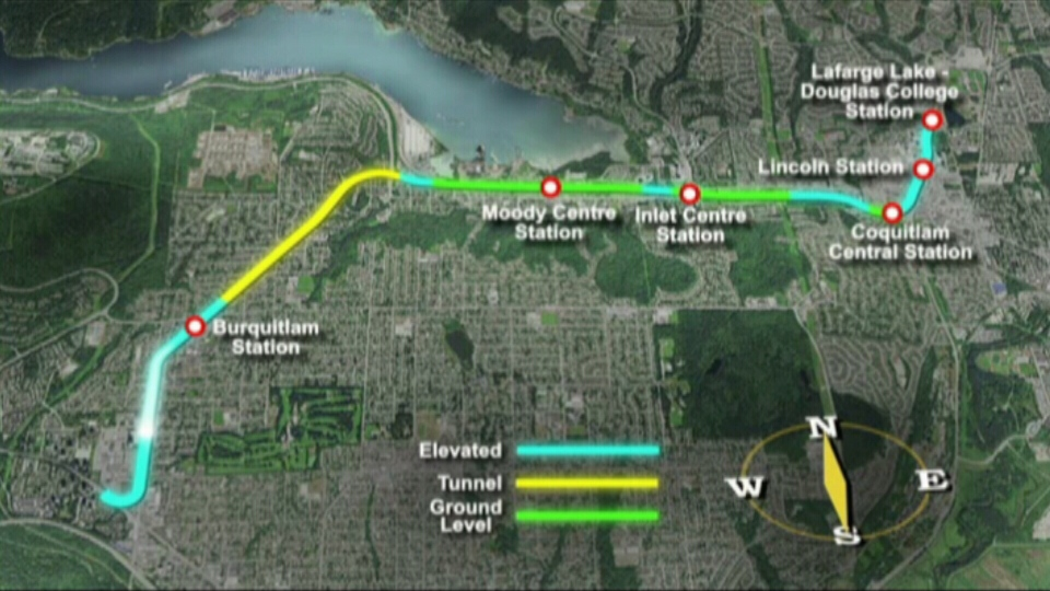 A map shows construction details of the Evergreen Skytrain Line along with new station names. (Handout)