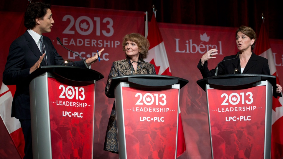 Justin Trudeau, left, Karen McCrimmon and Martha Hall Findlay take part in the Liberal party leadership debate in Montreal on Saturday, March 23, 2013. (Ryan Remiorz / THE CANADIAN PRESS)