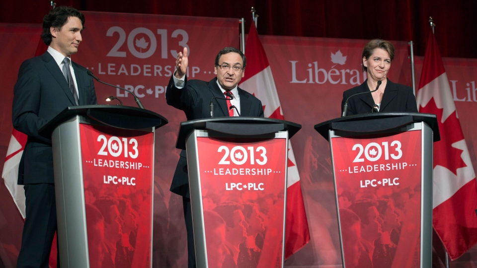 Justin Trudeau, left to right, Martin Cauchon and Martha Hall Findlay take part in the Liberal party leadership debate in Montreal on Saturday, March 23, 2013. (Ryan Remiorz / THE CANADIAN PRESS)