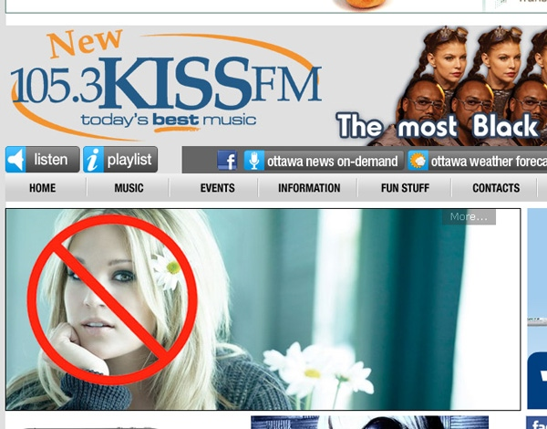 Ottawa radio station 105.3 KISS-FM has banned Carrie Underwood's music to protest Mike Fisher's trade to the Nashville Predators, Thursday, Feb. 10, 2011.