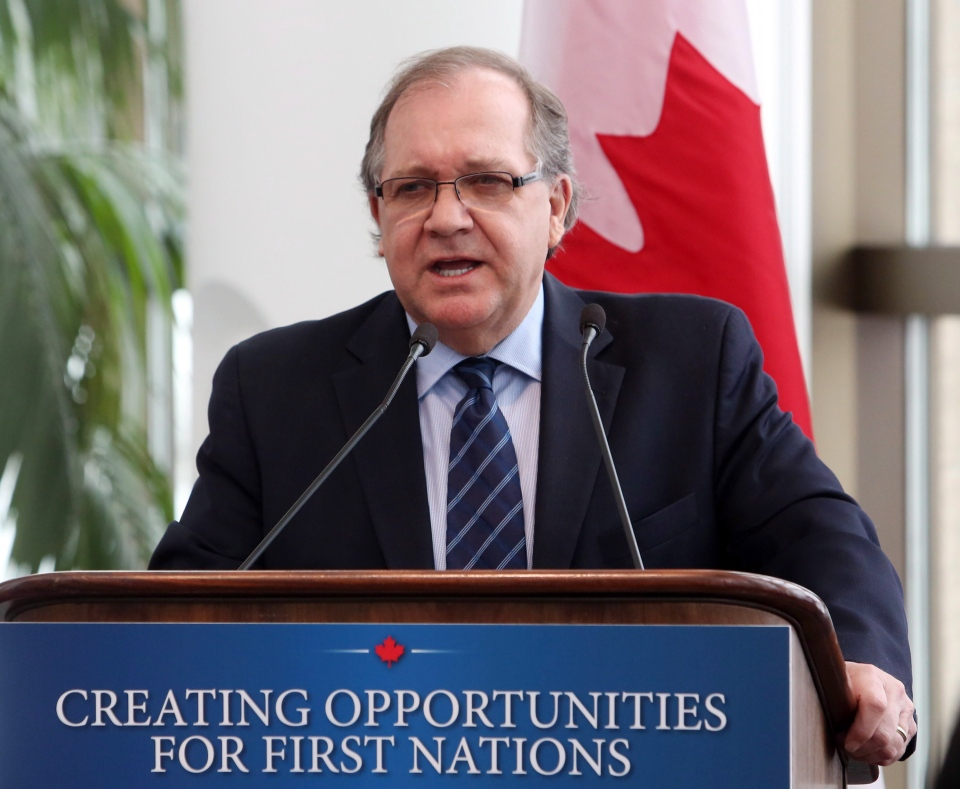 Aboriginal Affairs Minister Bernard Valcourt addresses the First Nations Lands Advisory Board in Gatineau, Que., Monday, March 25, 2013. (Fred Chartrand / THE CANADIAN PRESS)