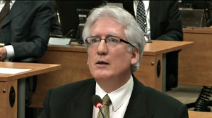 Former agent for Union Montreal, Marc Deschamps, is seen in a frame grab from the video feed as he testifies at the Charbonneau inquiry looking into corruption in the Quebec construction industry in Montreal, Monday, March 25, 2013 in Montreal. (Charbonneau Commission)