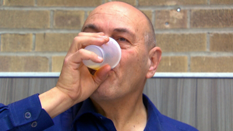 After undergoing an ultrasound treatment, Tony Lightfoot is now able to drink from a glass without spilling, for the first time in years.