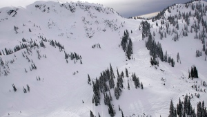 Snow mobiles, bottom right, are collected in the area where a large avalanche occurred near Revelstoke, B.C., Sunday, March 14, 2010. (Jeff Bassett / THE CANADIAN PRESS)