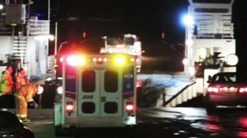 Police in Cape Breton investigate reports that a vehicle plunged into St. Ann's Bay after driving onto the Englishtown ferry Monday, March 25, 2013.
