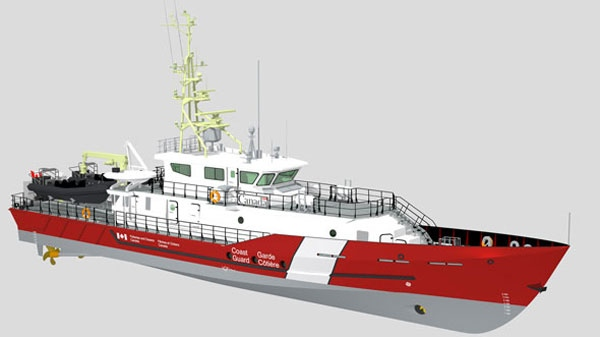 In this image an artist's rendering of a new Hero Class Canadian Coast Guard vessel in honour of fallen Canadian heroes is seen. (Department of Fisheries and Oceans)