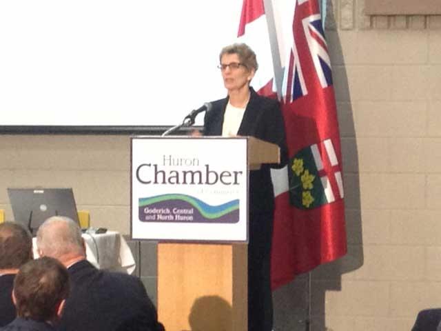 Ontario Premier Kathleen Wynne speaks in Clinton, Ont. on Tuesday, March 26, 2013. (Scott Miller / CTV London)