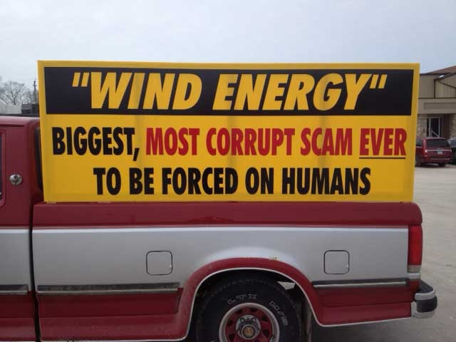 Anti-wind turbine signs are seen where protesters gathered in Clinton, Ont. on Tuesday, March 26, 2013. (Scott Miller / CTV London)