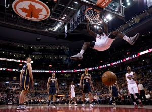Toronto Raptors forward Quincy Acy slams home a dunk during second half NBA action against the Indiana Pacers in Toronto on Friday, March 1, 2013. (The Canadian Press/Frank Gunn)