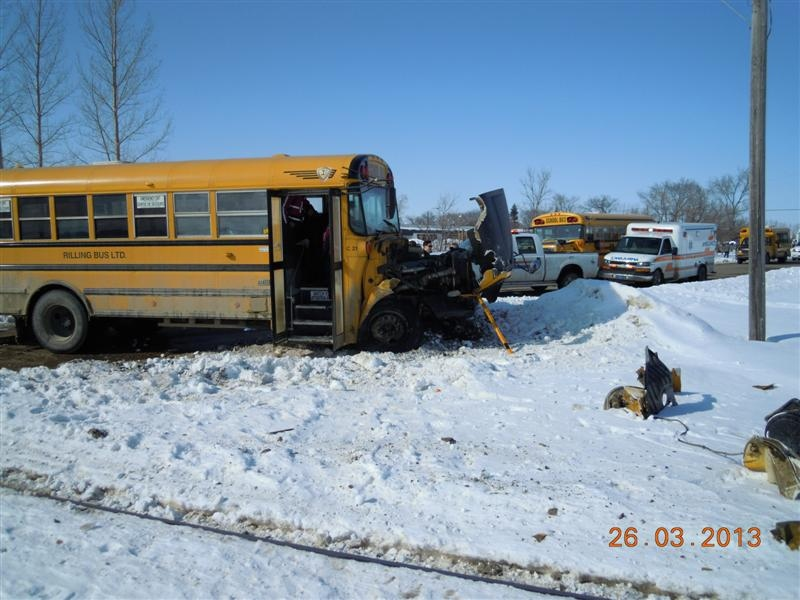 A car and a train collided in Carlyle on Tuesday. One student sustained minor injuries.