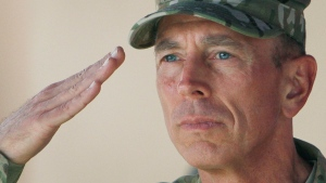 Gen. David Petraeus, top commander of U.S. and NATO forces in Afghanistan, salutes during a changing of command ceremony from Petraeus to Gen. John Allen in Kabul, Afghanistan on Monday, July 18, 2011. (AP / Musadeq Sadeq)
