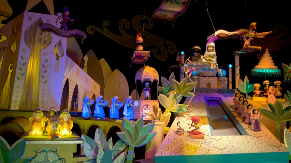 The characters Aladdin, Jasmine and Abu from the film, 'Aladdin,' are seen on the 'It's A Small World' ride, at Disneyland in Anaheim, Calif., on Jan. 23, 2009. (AP / Damian Dovarganes)