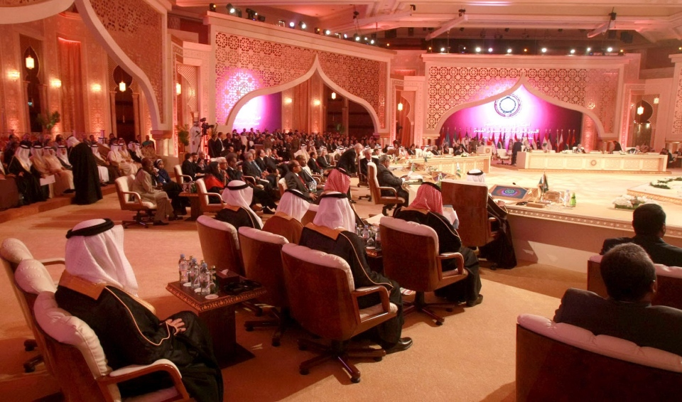 A general view of the Arab League summit in Doha, Qatar, Tuesday, March 26, 2013. (AP Photo/Ghiath Mohamad)
