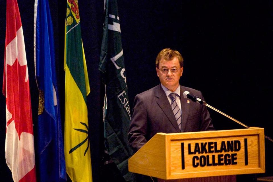 Vegreville-Wainwright MP Leon Benoit speaks at Lakeland College in Vermilion, Alta, on May 20, 2011. (Marketwire / Public Safety Canada)